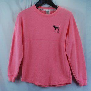 VS Pink | Pink Curved Hem Leopard Print Crew sz XS
